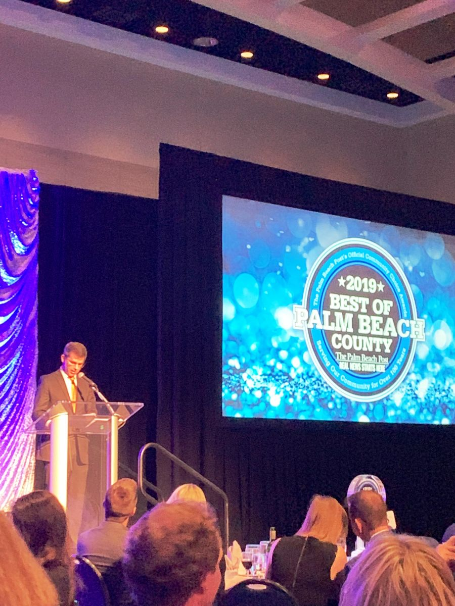 Palm Beach Post publisher Timothy D. Burke welcomes attendees at the gala