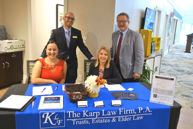 The Karp Law Firm greets arriving social workers and case managers: R, front: Zamara Rosete, Assistant Case Manager and Audrey Yeager, Firm Administrator. L-R, back: Attorneys Jonathan Karp and Joseph Karp